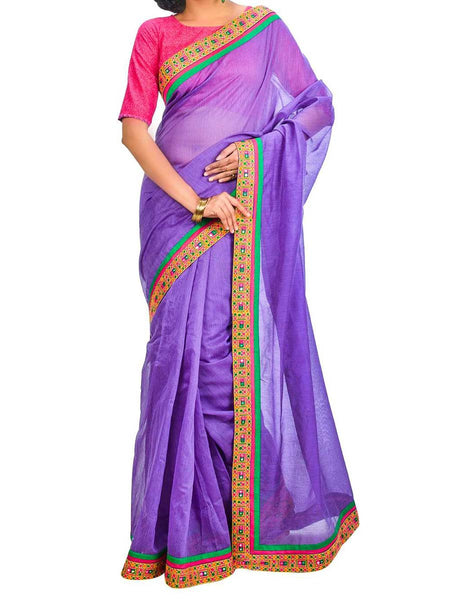 Saree From West Bengal In Purple - PWBSAI26AG23