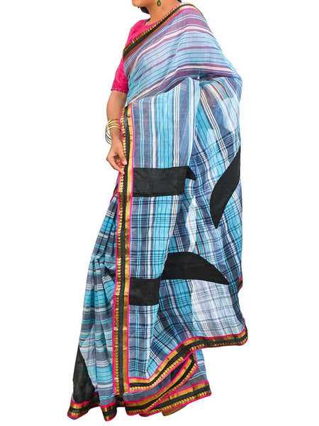 Saree From West Bengal In Sky Blue & Black - PWBSAI26AG27
