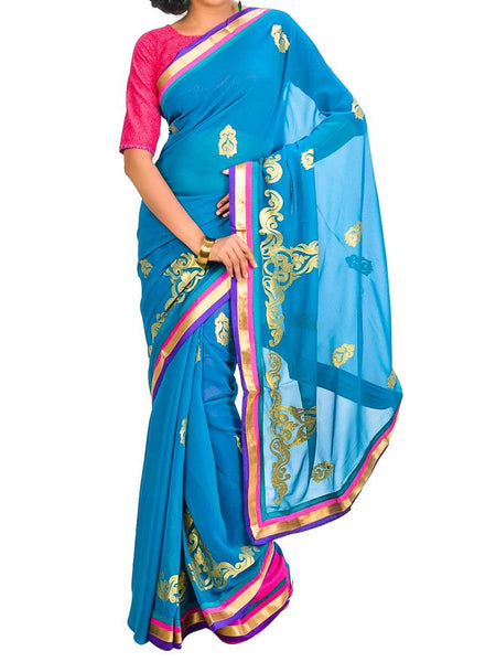 Saree From West Bengal In Blue - PWBSAI26AG29