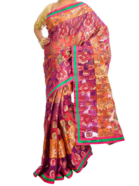 Saree From West Bengal In Magenta & Purple - PWBSAI26AG43