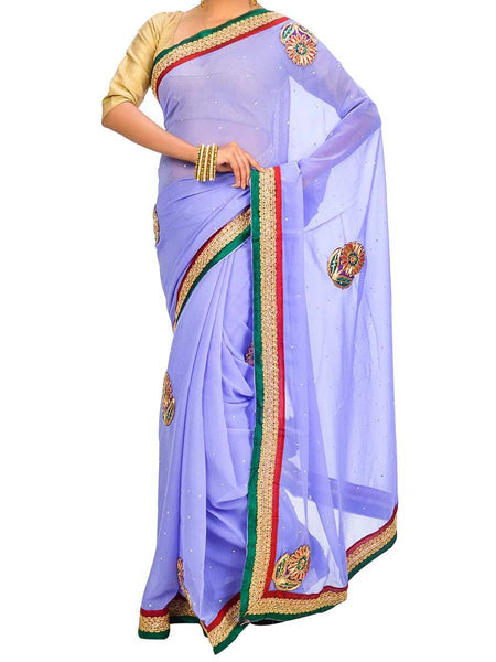 Saree From West Bengal In Blue - PWBSAI26AG47