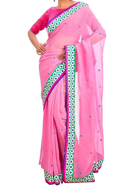 Saree From West Bengal In Pink - PWBSAI26AG53