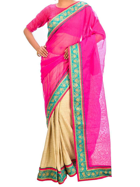 Saree From West Bengal In Magenta & Golden - PWBSAI26AG54