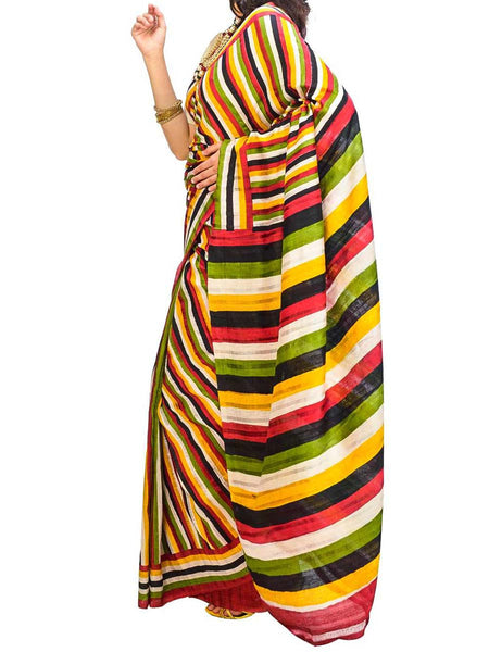 Saree From West Bengal In Multicolor - PWBSAI29AG6