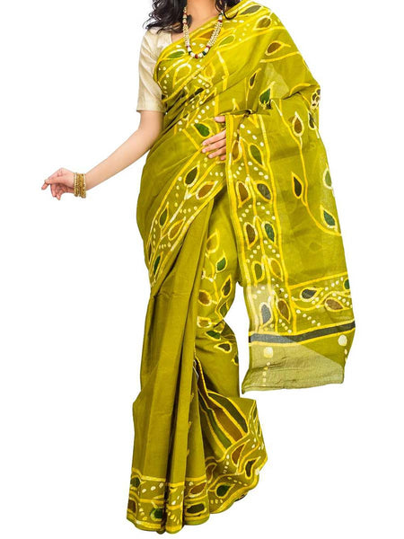 Saree From West Bengal In Yellow & Green - PWBSAI29AG8