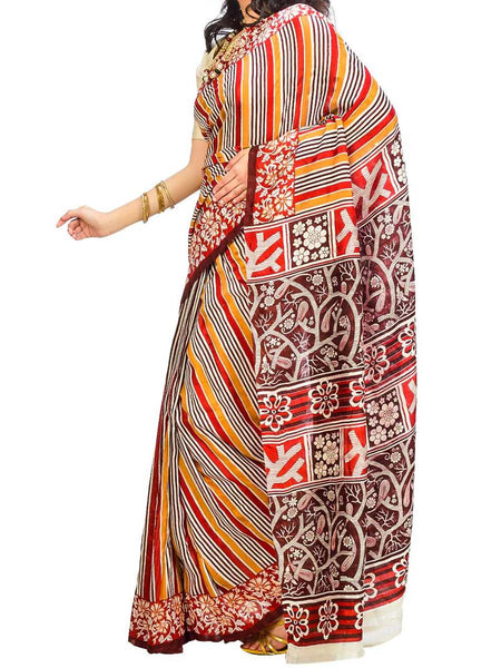Saree From West Bengal In Multicolor - PWBSAI29AG10