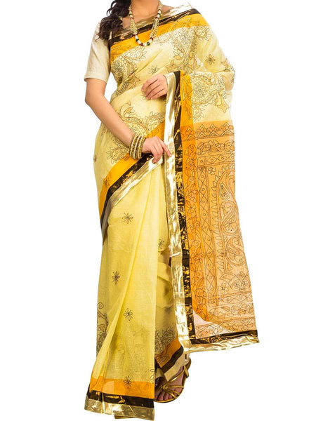 Saree From West Bengal In Yellow - PWBSAI29AG17