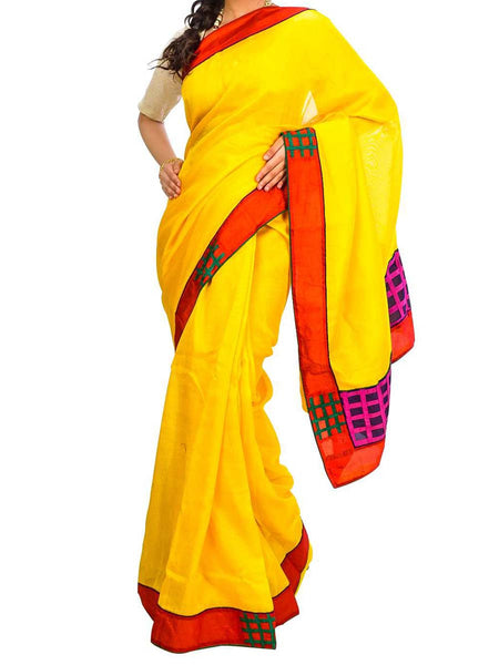 Saree From West Bengal In Yellow - PWBSAI29AG22