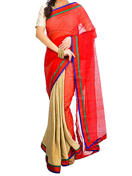 Saree From West Bengal In Red & Golden - PWBSAI29AG34