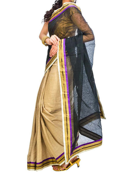 Saree From West Bengal In Black & Golden - PWBSAI29AG40