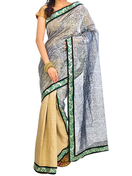 Saree From West Bengal In Golden & Purple - PWBSAI29AG42