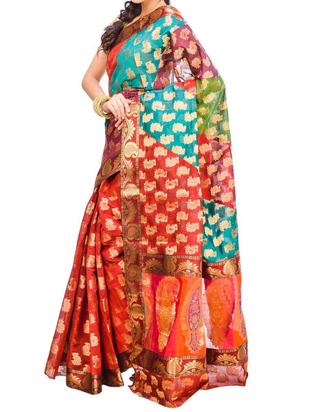 Saree From West Bengal In Maroon & Green - PWBSAI29AG48
