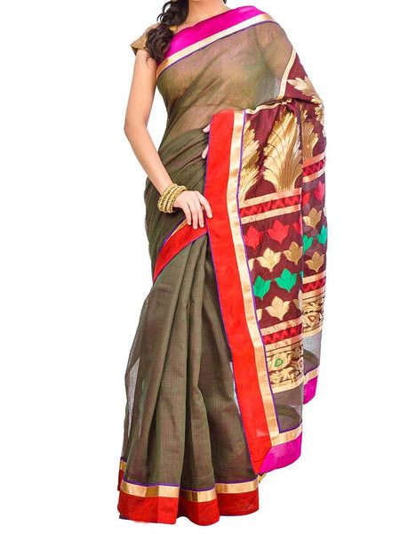 Saree From West Bengal In Multicolor - PWBSAI29AG49
