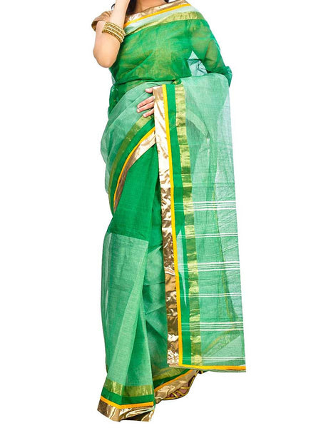 Saree From West Bengal In Green & Golden - PWBSAI29AG54