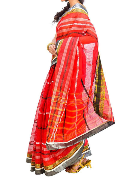 Saree From West Bengal In Red & Green - PWBSAI29AG59