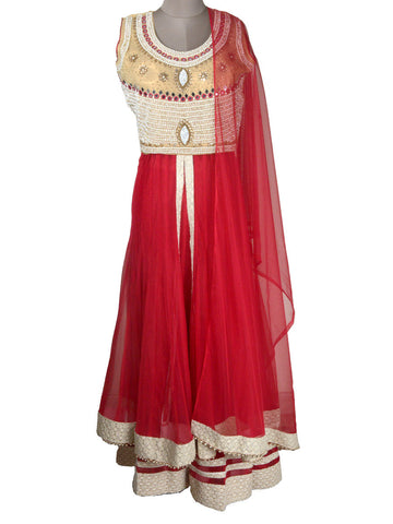 Embroidered Deep Pink Net Fabric Lehenga Choli With Palazzo Pant - NE-LSL11MH2