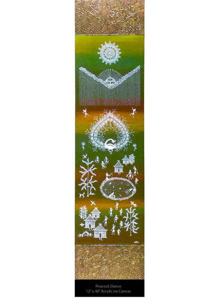 Acrylic on canvas Dancing Peacock Warli Painting - K1-WMDP18FB1