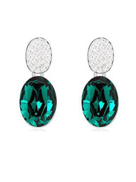 Designer Crystal Oval Earrings Emerald - PH-CJE27AG2