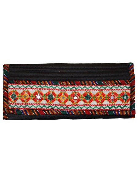 Black Kutch Embroidered Envelope Clutch - ND-CJRBSN30MH1