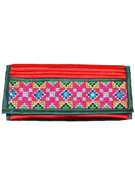 Red Kutch Embroidered Envelope Clutch - ND-CJRBSN30MH3