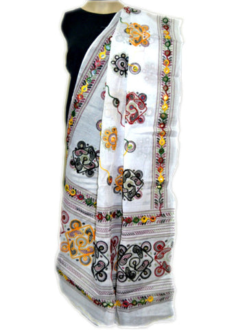 White Kutch embroidery Dupatta - ND-CPKD26MH6