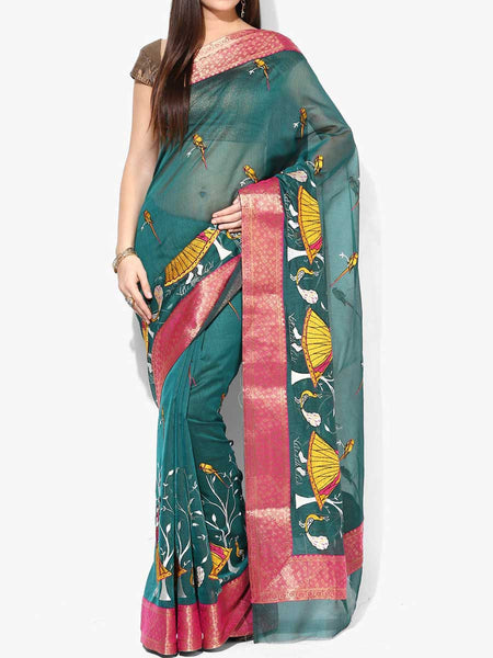 Banarasi Saree In Supernet Green - RB-BPBUSA11JL229