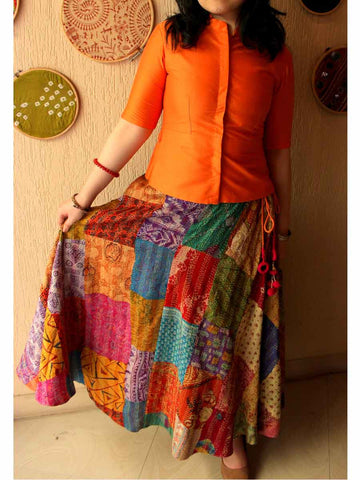 Cotton Silk Jacket & Patchwork Skirt Set In Orange - ES-PJ27SP2