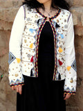 Cotton Boho Embroidered Jacket In White - ES-PJ27SP3