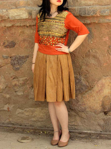 Metal Embellished Top,Raw Silk Skirt In Desert Orange,Golden Brown - ES-PS27SP5