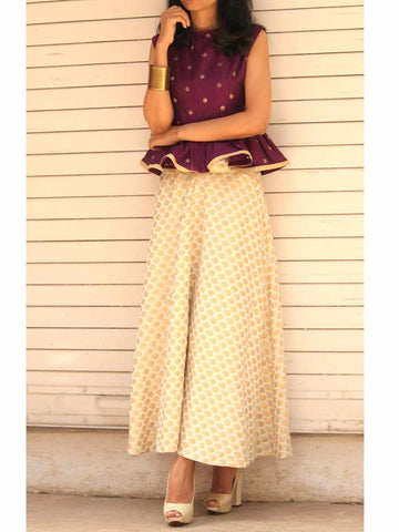 Berry Peplum Top  And White Gold Brocade Skirt Set - ES-PS27SP8