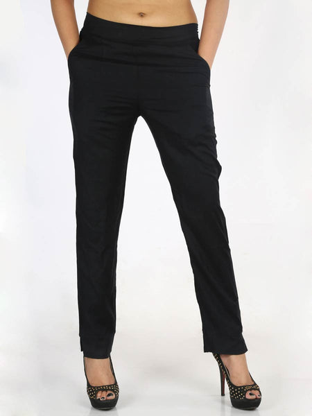 Rayon Straight Pants In Black - AERTS20JL1