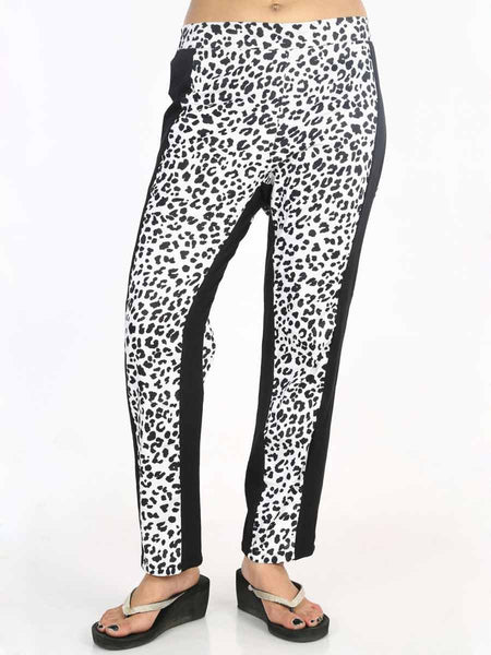 Rayon Straight Pants In Black & White - AERTS20JL3