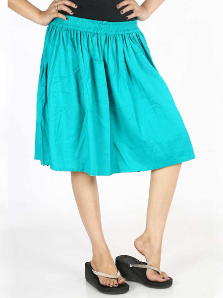 Rayon Printed Short Skirt In Sky Blue - AE-PSS20JL2