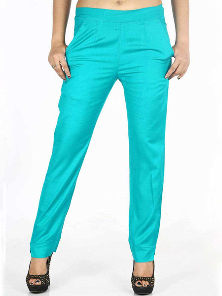 Rayon Straight Pants In Sky Blue - AERTS20JL4