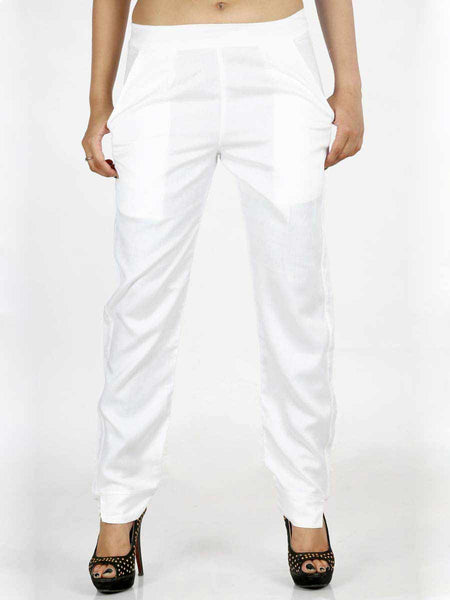 Rayon Straight Pants In White - AERTS20JL6