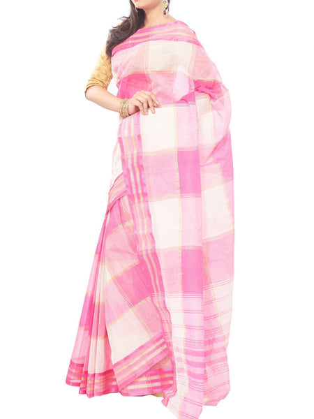 Pink  Color Striped Bengal Cotton Tant  Saree And Unstitched  Blouse Piece  - PWBSAI26JN32