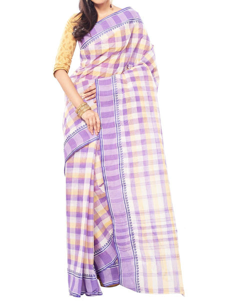 Striped Design Cotton Saree And Unstitched  Blouse Piece  - PWBSAI26JN40