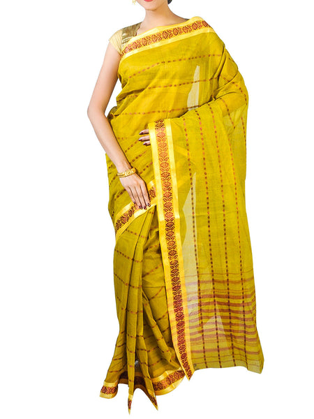 Bengal Handloom Dhaniakhali Tant  Cotton Saree  With Golden Noksa Broder And Unstitched Blouse Piece  -  PWBSAI24SP12