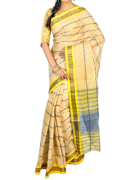 Bengal Handloom Dhaniakhali Tant  Cotton Saree  With Golden Noksa Broder And Unstitched Blouse Piece  -  PWBSAI24SP20