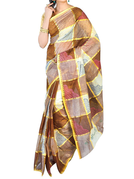 Bengal Handloom Dhaniakhali Tant  Cotton Saree  With Golden Noksa Broder And Unstitched Blouse Piece  -  PWBSAI24SP27