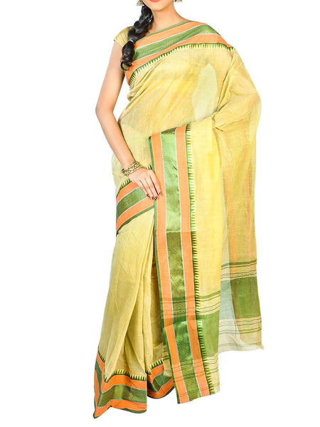 Bengal Handloom Dhaniakhali Tant  Cotton Saree  With Golden Noksa Broder And Unstitched Blouse Piece  -  PWBSAI24SP35