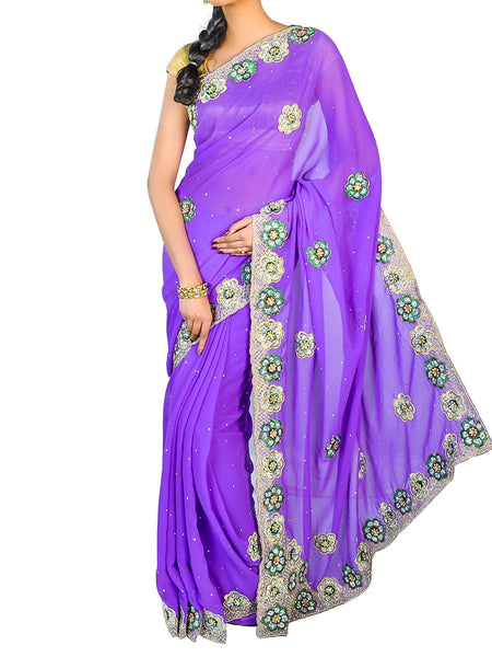 Kolkata Hand Zari Work Party Wear Saree With Designer Blouse Unstitched Pices.  -  PWBSAI24SP58