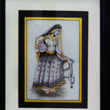 Marble Painting Of Ragini With Pot & Calf-EC-HJRME5MY39