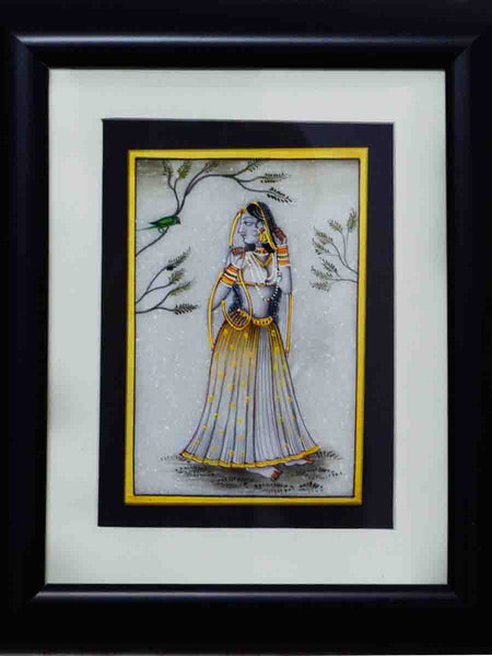 Marble Painting Of Ragini With Parrot-EC-HJRME5MY40