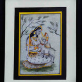 Marble Painting Of Ragini With Calf-EC-HJRME5MY41