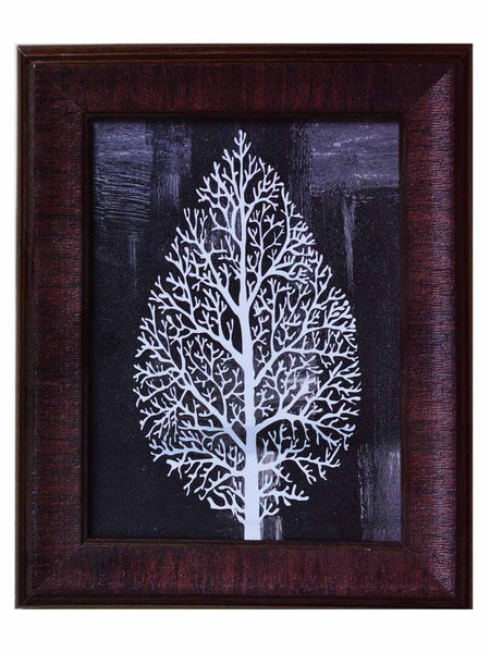 Decorative Leaf Satin Matt Texture Art Print In Black and White - EC-HJRDW3JL50