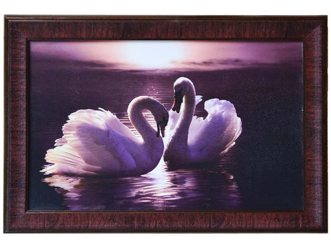 2 Swans Design Satin Matt Texture Framed In Multi Color - EC-HJRDW3JL53