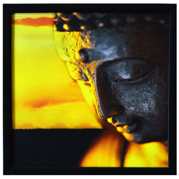 Meditating Buddha Design Satin Matt Texture Framed In Yellow and Grey - EC-HJRDW3JL85
