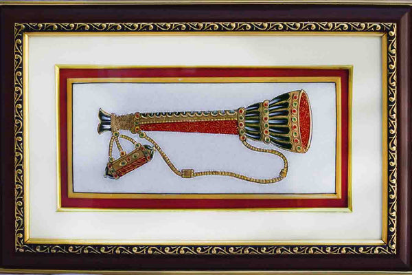 Marble Painting Of Shehnai-EC-HJRME5MY24