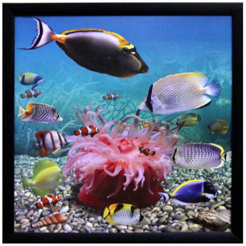 3D Sea Life view Design Satin Matt Texture Art Print In Multi Color - EC-HJRDW3JL25